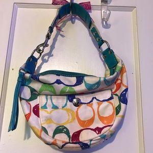 Authentic multi colored coach purse
